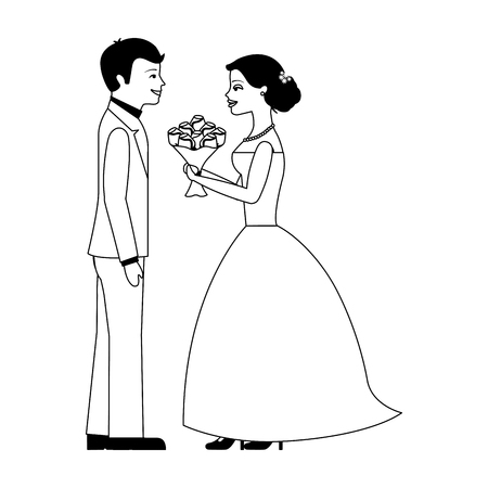 married couple with bouquet of flowers avatar character vector illustration design