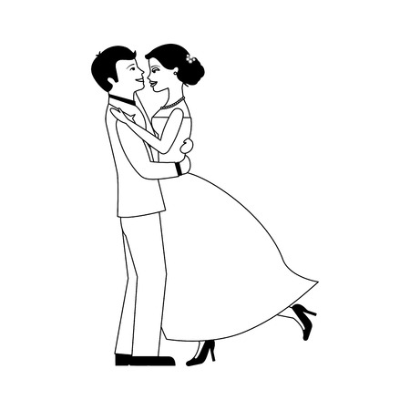 married couple dancing avatar character vector illustration design  イラスト・ベクター素材