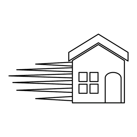house facade silhouette with speed lines vector illustration design Archivio Fotografico - 103797980