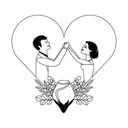married couple with rose flower decoration in heart vector illustration design