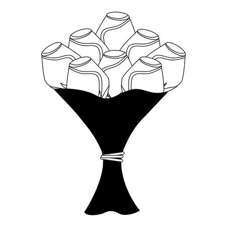 bouquet of roses isolated icon vector illustration design Illustration