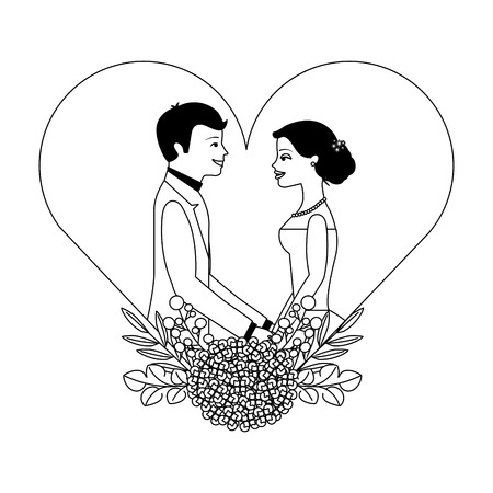 married couple with floral decoration in heart vector illustration design