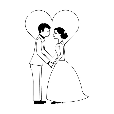 married couple with heart avatar character vector illustration design Иллюстрация