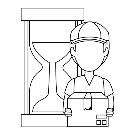 delivery worker with box and hourglass vector illustration design
