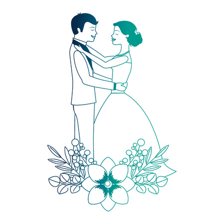 married couple with floral decoration vector illustration design