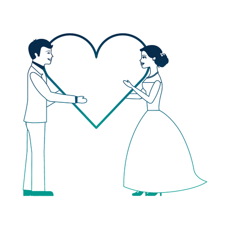married couple with heart avatar character vector illustration design Фото со стока - 103798263