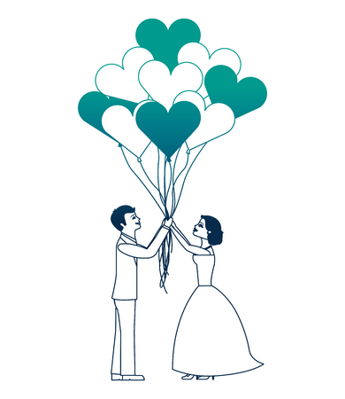 married couple and balloons helium with shape heart vector illustration design