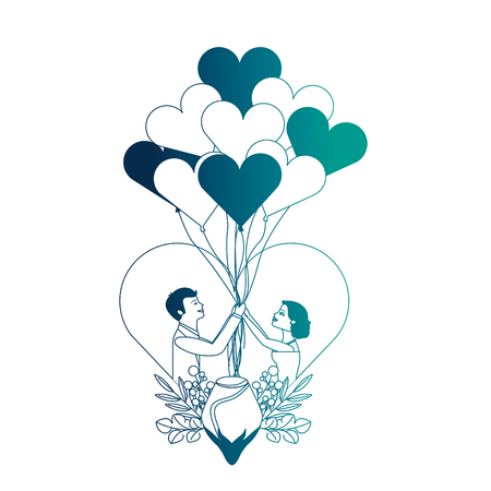 married couple with rose flower in heart and balloons helium vector illustration design