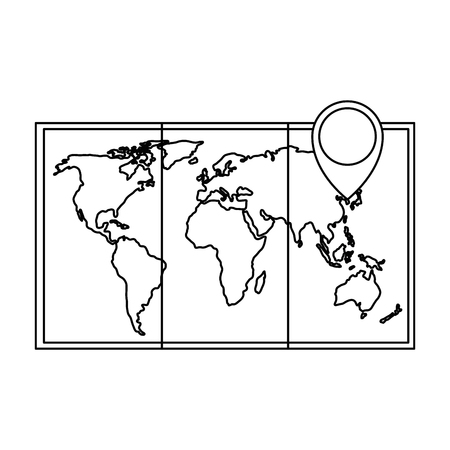 map paper with pin location vector illustration design Illustration