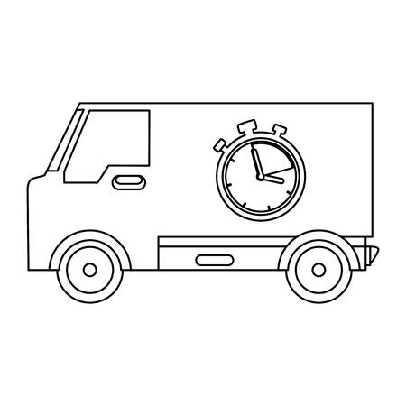 delivery van with chronometer vector illustration design Illustration