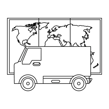 delivery van with paper map vector illustration design