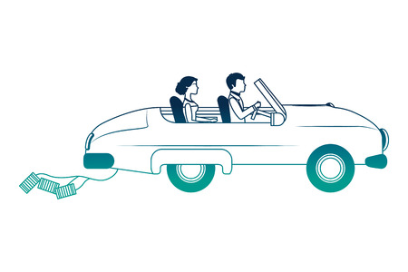 just married couple in car isolated icon vector illustration design Illustration
