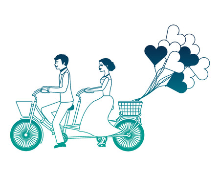 just married couple in bicycle and balloons helium with shape heart vector illustration design  イラスト・ベクター素材