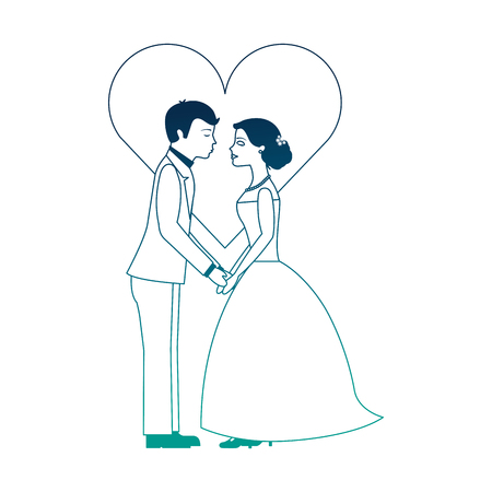 married couple with heart avatar character vector illustration design Illustration
