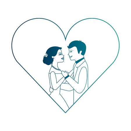 married couple in heart isolated icon vector illustration design Фото со стока - 103798312