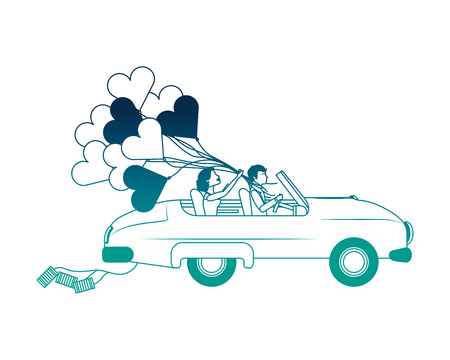 just married couple in car and balloon helium with shape heart vector illustration design