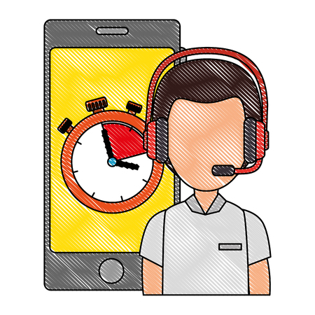logistic worker with smartphone and chronometer vector illustration design