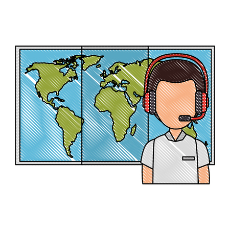 logistic worker with headset and map vector illustration design