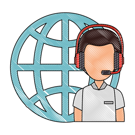 logistic worker with headset and sphere planet vector illustration design