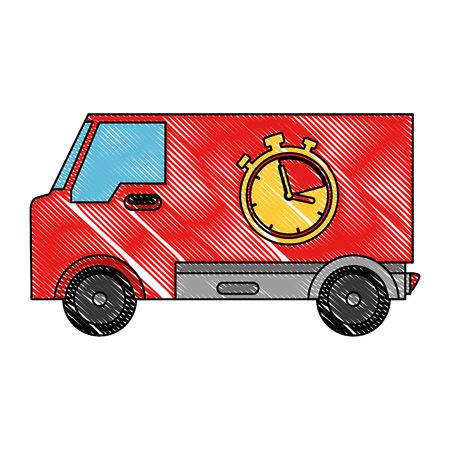 delivery van with chronometer vector illustration design Stock Vector - 103798332