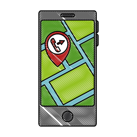 smartphone with gps app vector illustration design