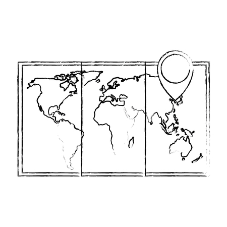 map paper with pin location vector illustration design Stock Vector - 103714896