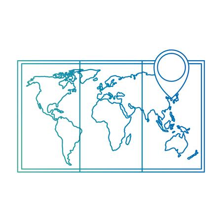 map paper with pin location vector illustration design Ilustração