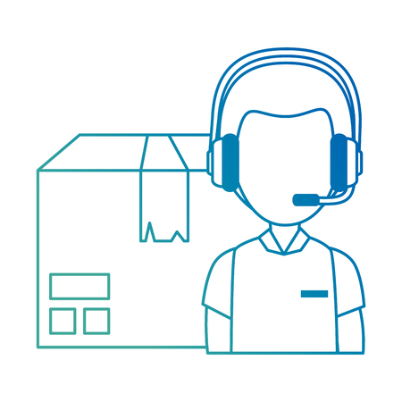 logistic worker with headset and box vector illustration design