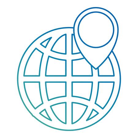 sphere planet with pin pointer vector illustration design Illusztráció