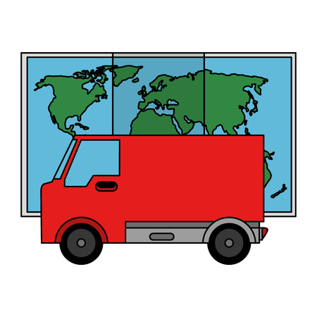 delivery van with paper map vector illustration design Stock Vector - 103715050