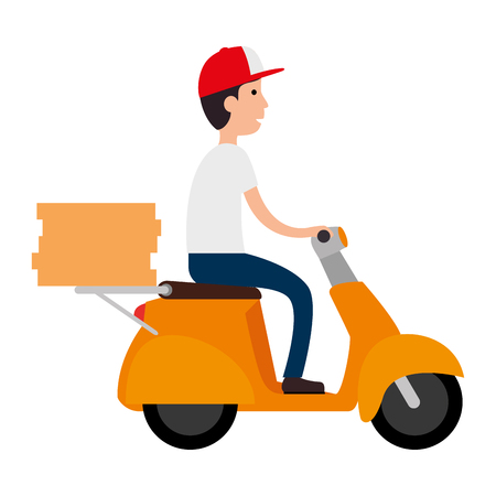 delivery worker in motorcycle avatar character vector illustration design