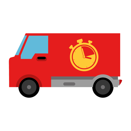 delivery van with chronometer vector illustration design Stock Vector - 104181877