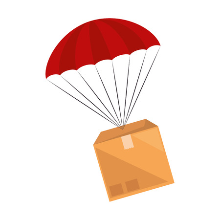 packing box carton with parachute vector illustration design