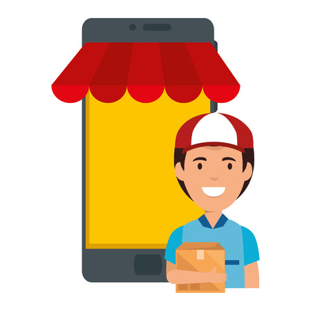 smartphone device with delivery worker vector illustration design