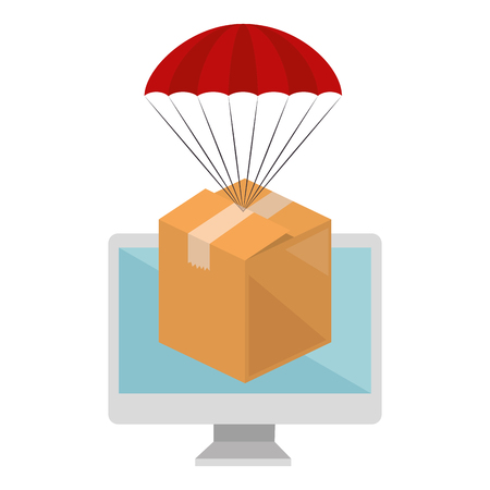 packing box carton with parachute in computer vector illustration design Illustration