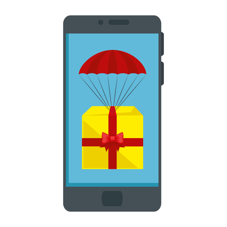 smartphone device with gift box in parachute vector illustration design 일러스트