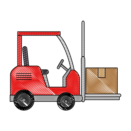 forklift vehicle with boxes vector illustration design Illustration
