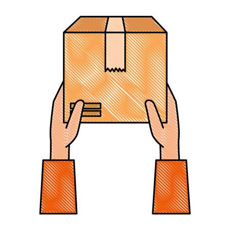 hands lifting box carton icon vector illustration design