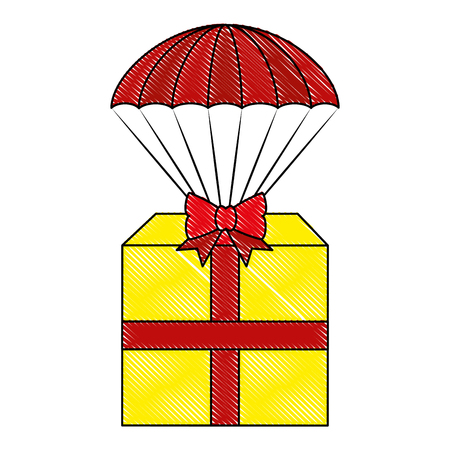gift box present with parachute vector illustration design
