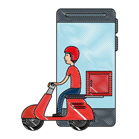smartphone with motorcycle delivery service vector illustration design