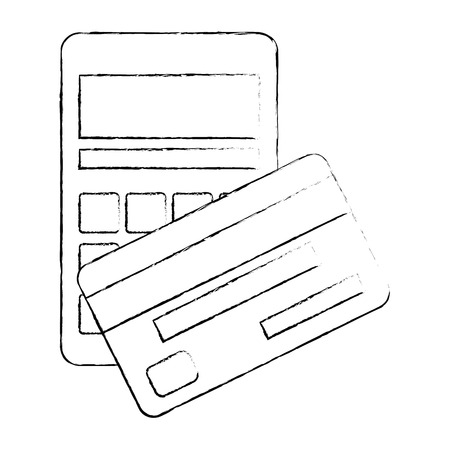 calculator math with credit card vector illustration design Illustration