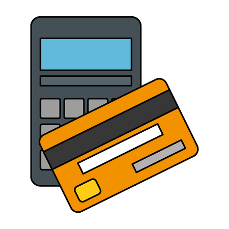 calculator math with credit card vector illustration design Illustration