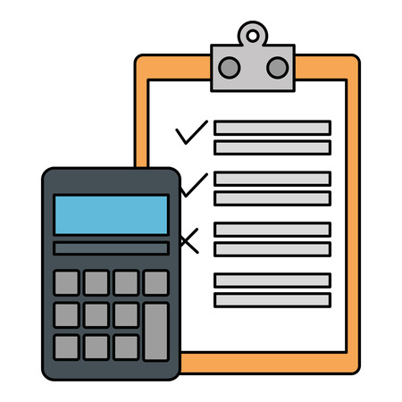 calculator math with checklist vector illustration design