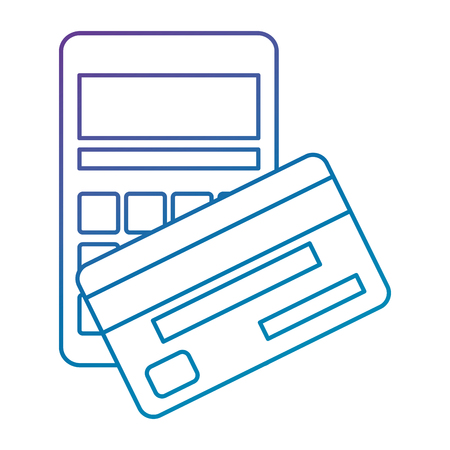 calculator math with credit card vector illustration design Иллюстрация