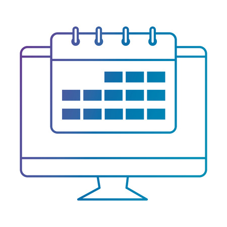 computer display with calendar vector illustration design Illustration