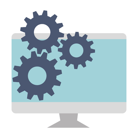 computer display with gears vector illustration design Ilustracja