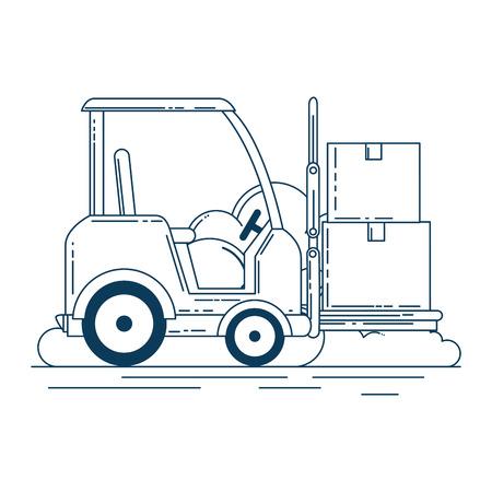 forklift vehicle with boxes vector illustration design Illustration