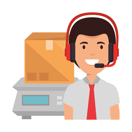 logistic worker with headset and gramer measure vector illustration design