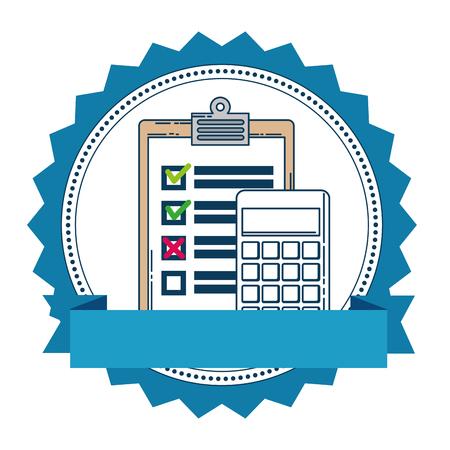 calculator math with checklist vector illustration design