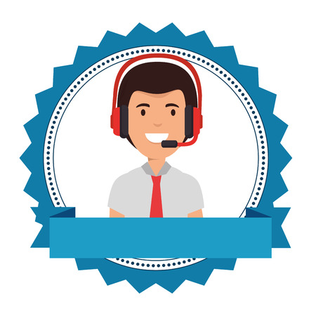 logistic worker with headset character vector illustration design